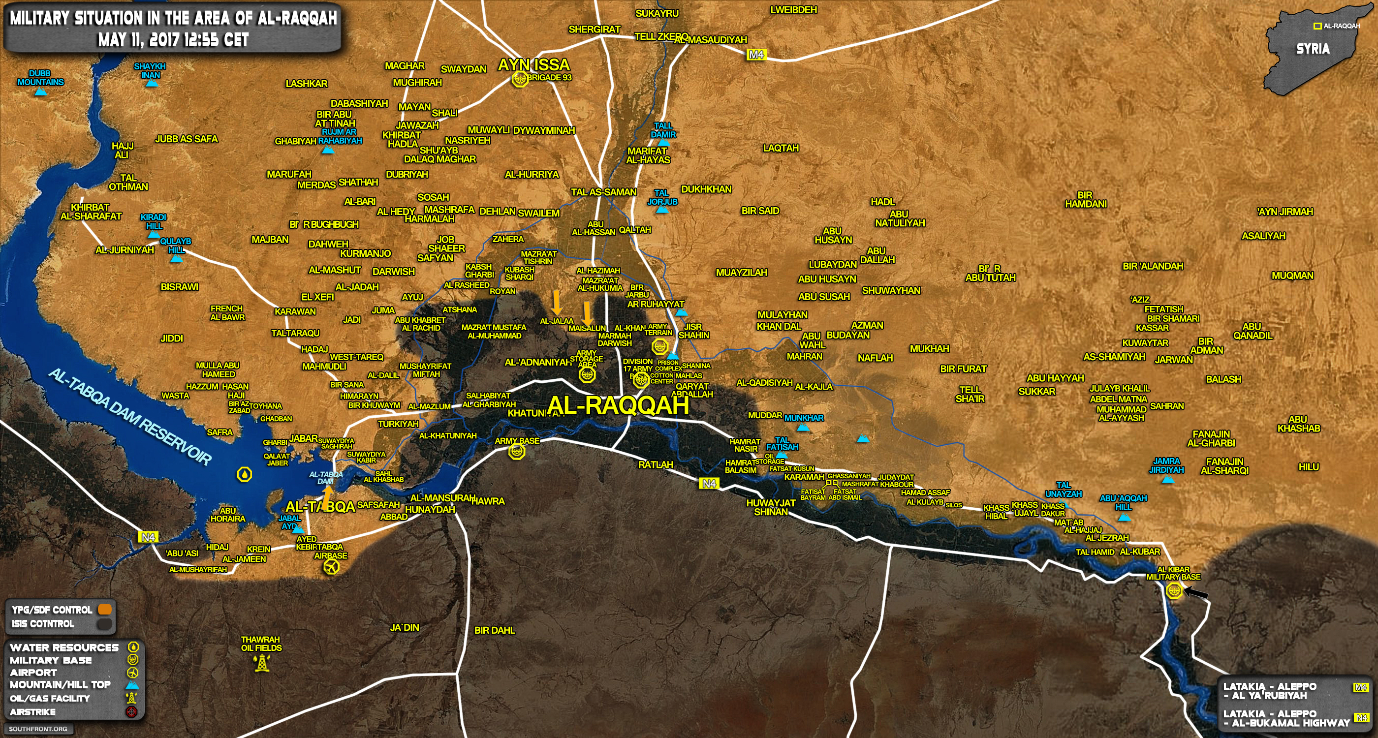 Military Situation In Raqqah Countryside On May 11, 2017 (Syria Map Update)