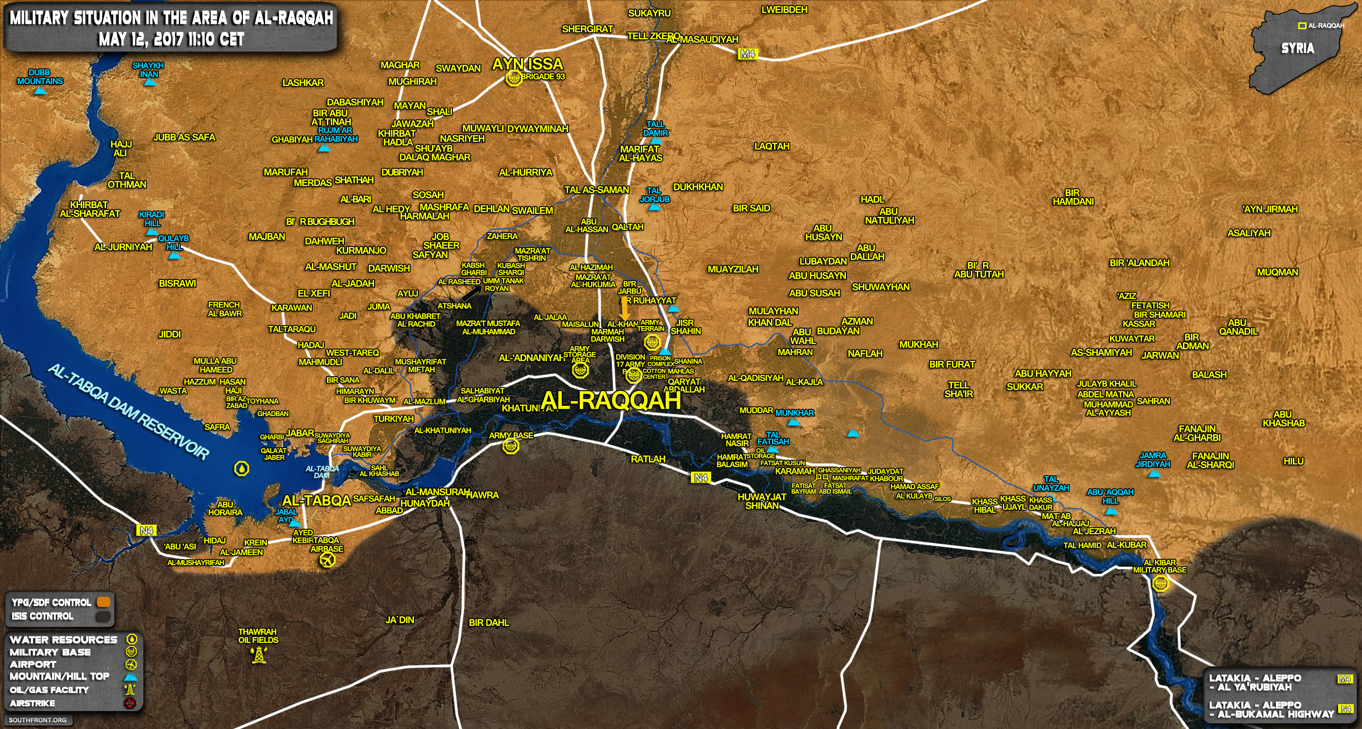 Military Situation In Raqqah Countryside On May 12, 2017 (Map Update)