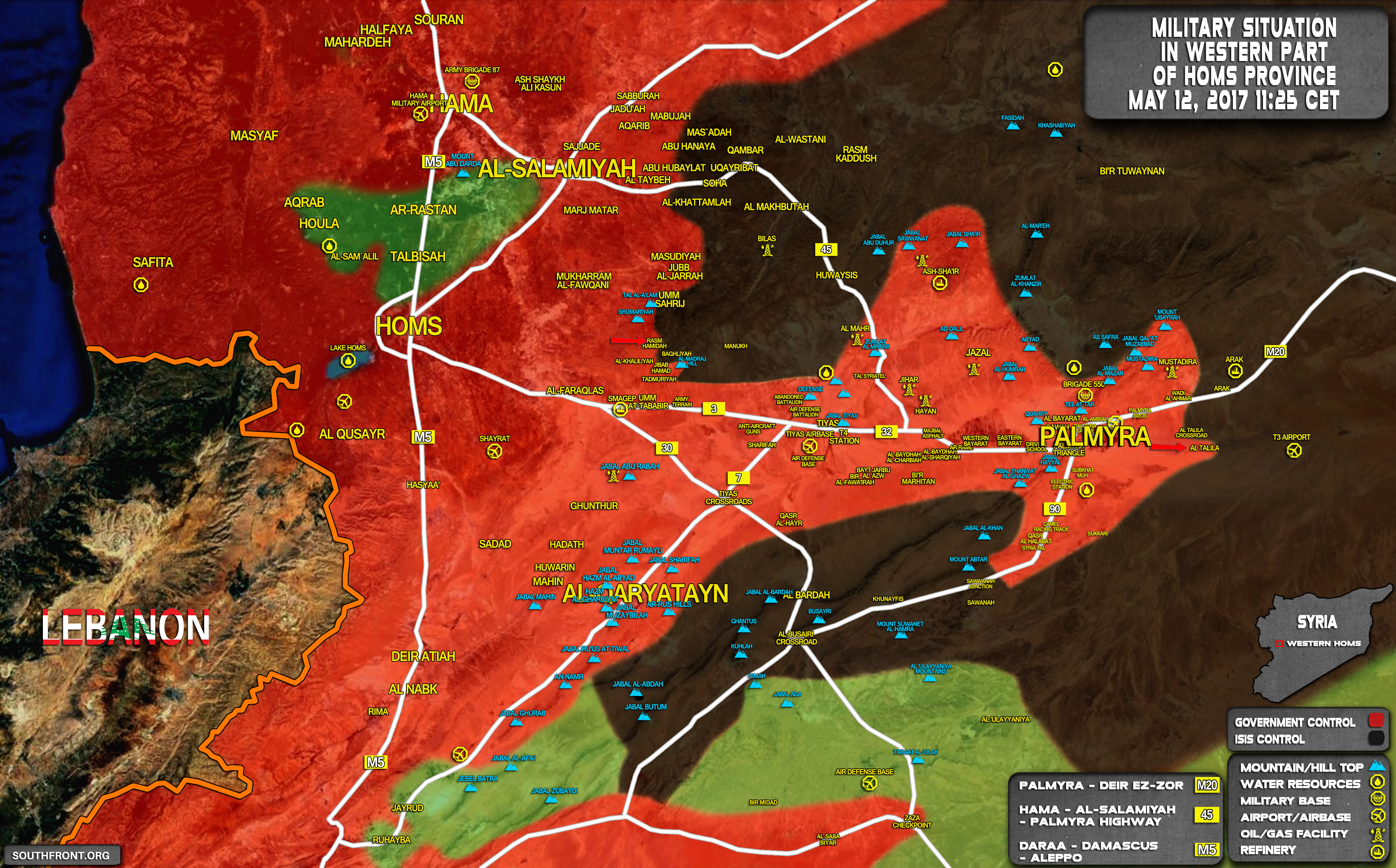 Syrian Army Troops Advanced East Of Palmyra (Map)