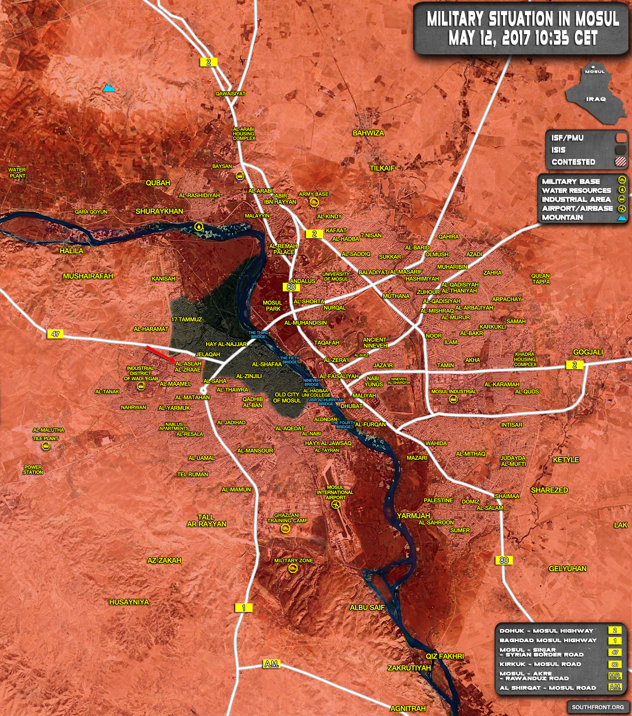Military Situation In Iraqi City Of Mosul On May 12, 2017 (Map Update)