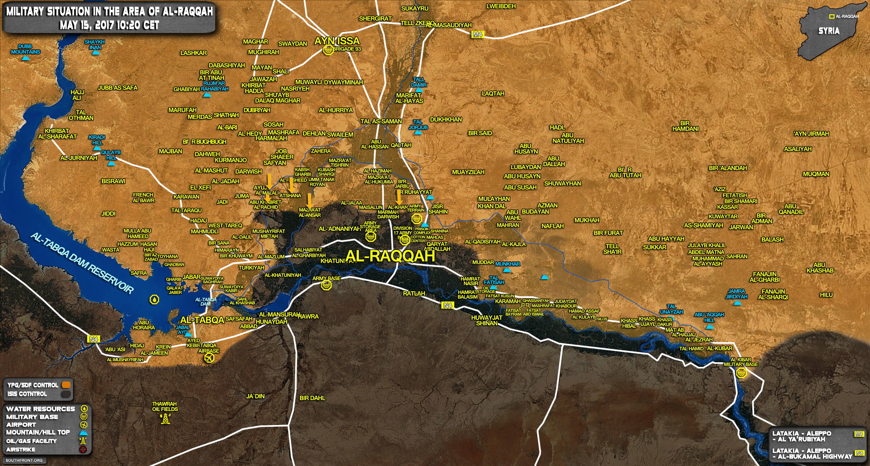 Military Situation In Raqqah Countryside On May 15, 2017 (Map Update)