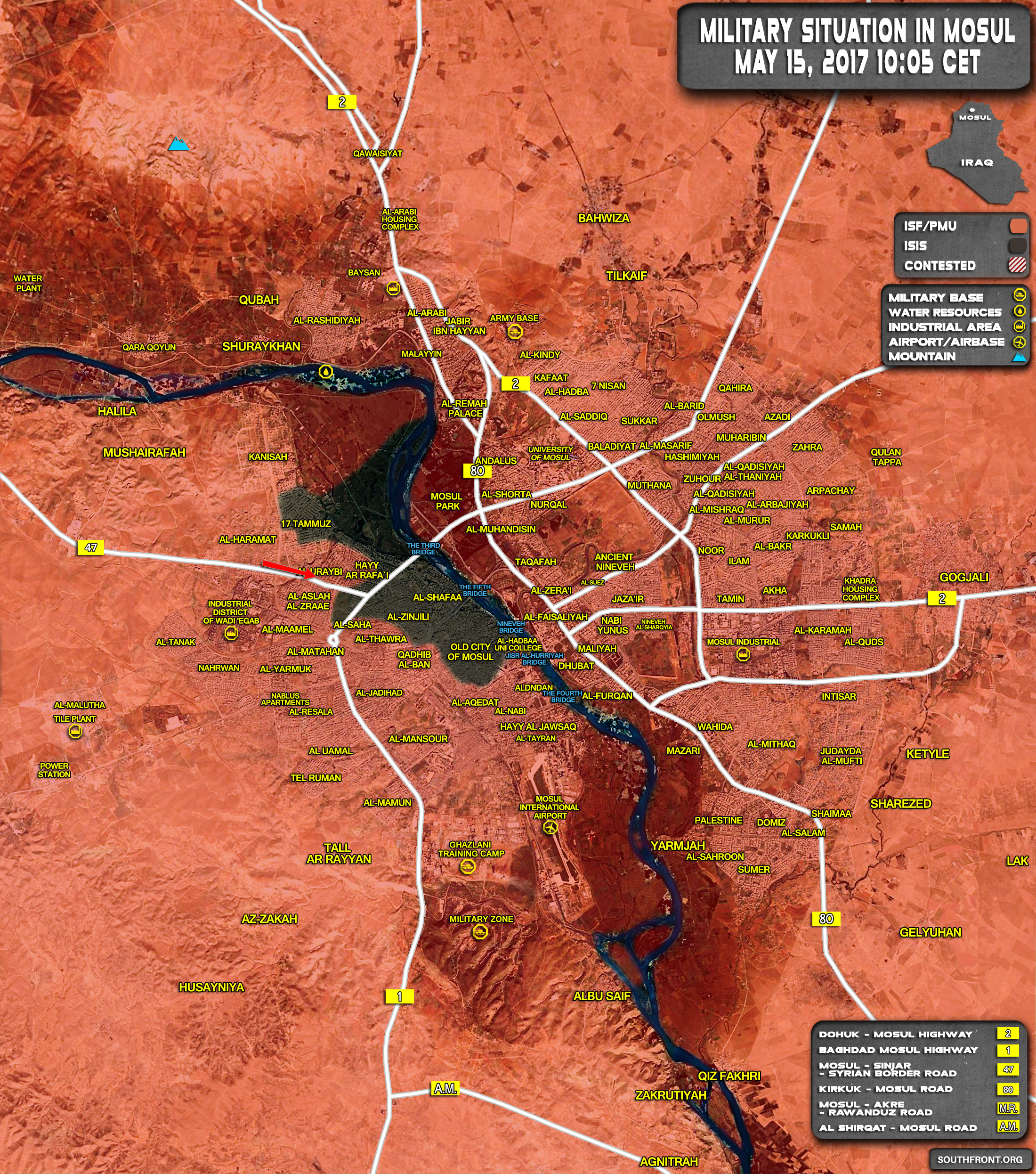 Military Situation In Iraqi City Of Mosul On May 15, 2017 (Map Update)