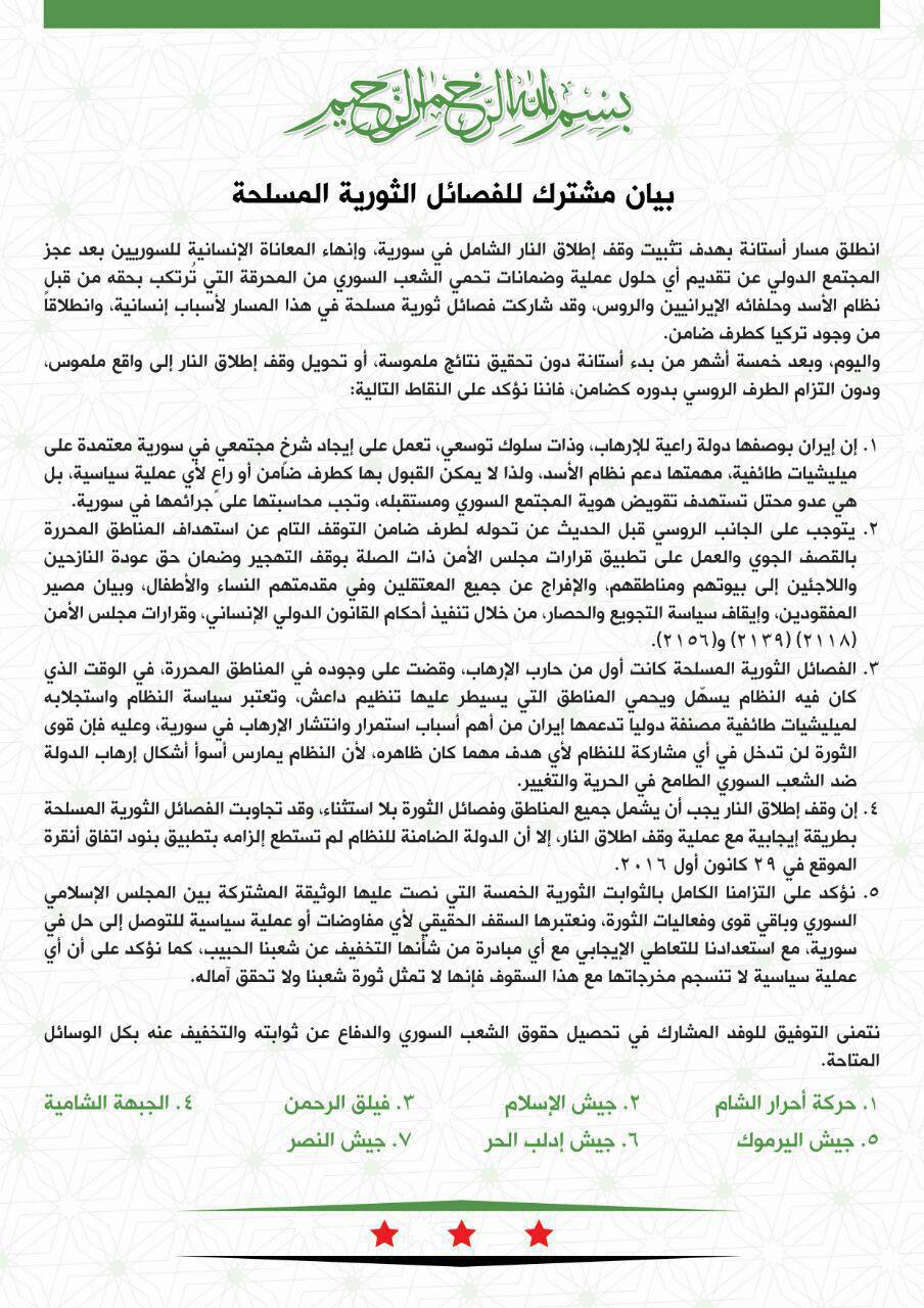 Syrian Opposition Welcomes Safe Zones Agreement, But Not Going To Fulfill It?