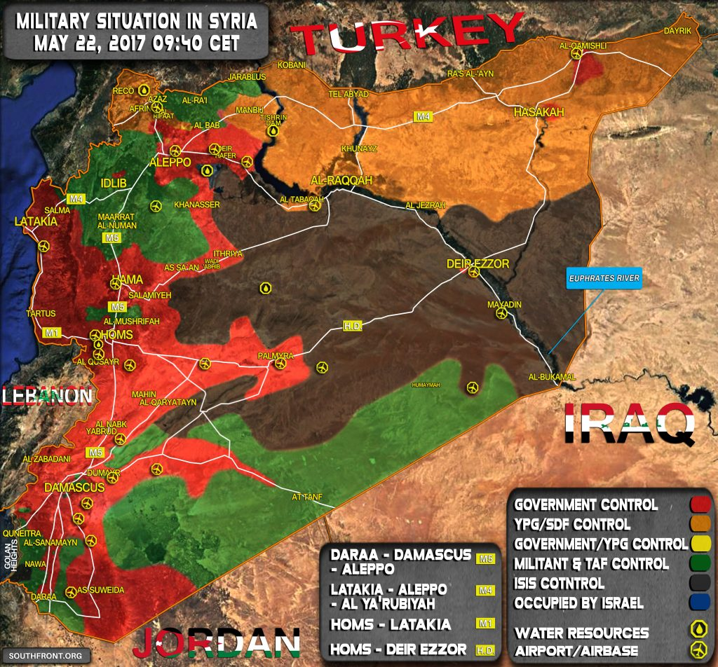 Military Situation In Syria On May 22, 2017 (Map Update)