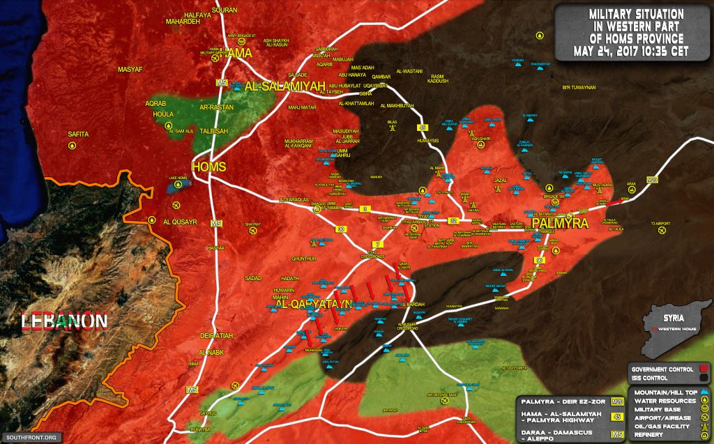 Military Situation In Countryside Of Palmyra On May 24, 2017 (Map Update)