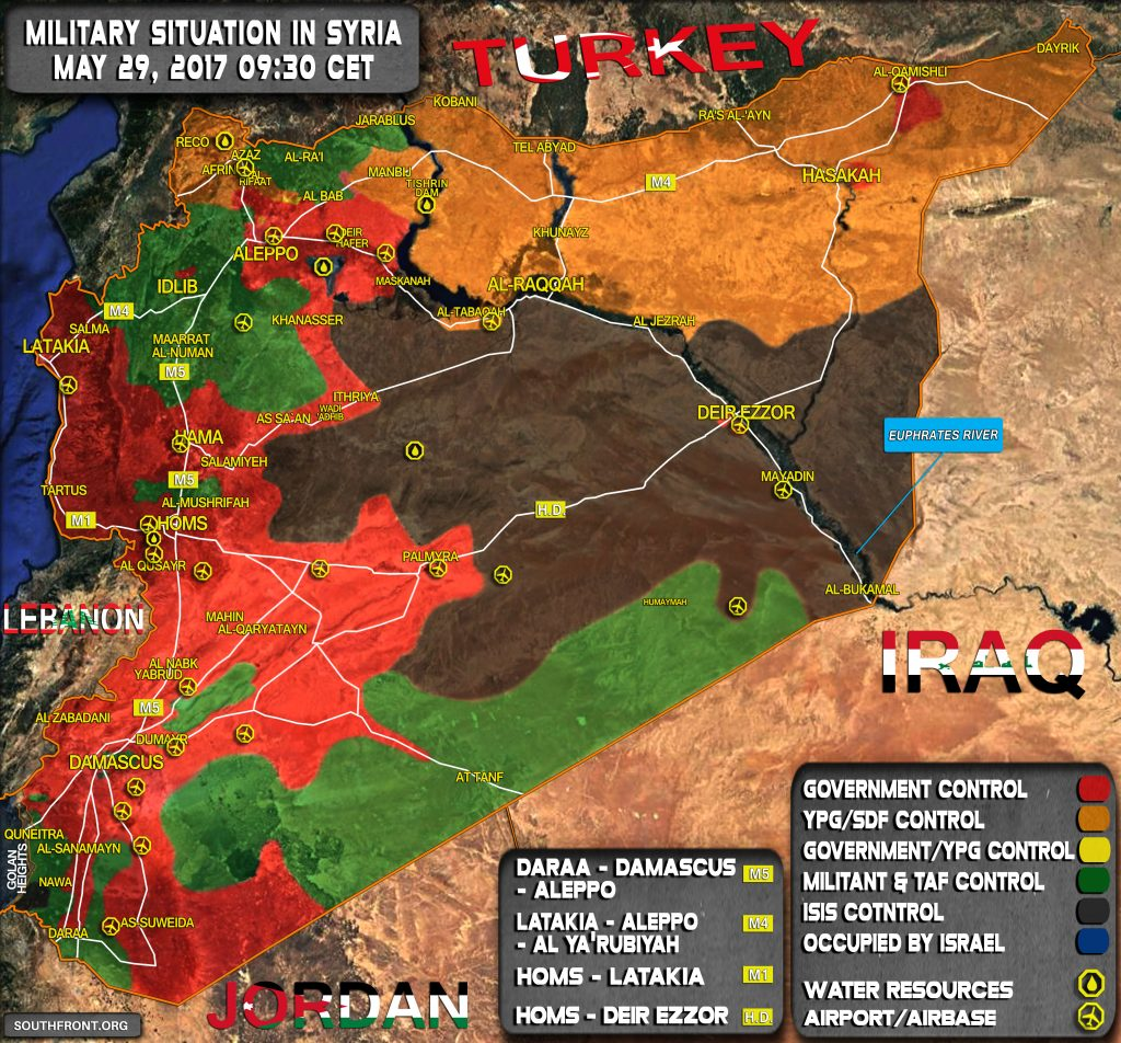 Military Situation In Syria On May 29, 2017 (Map Update)