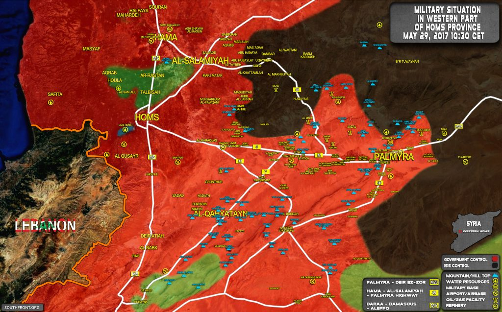 Military Situation In Palmyra Countryside On May 29, 2017 (Syria Map Update)