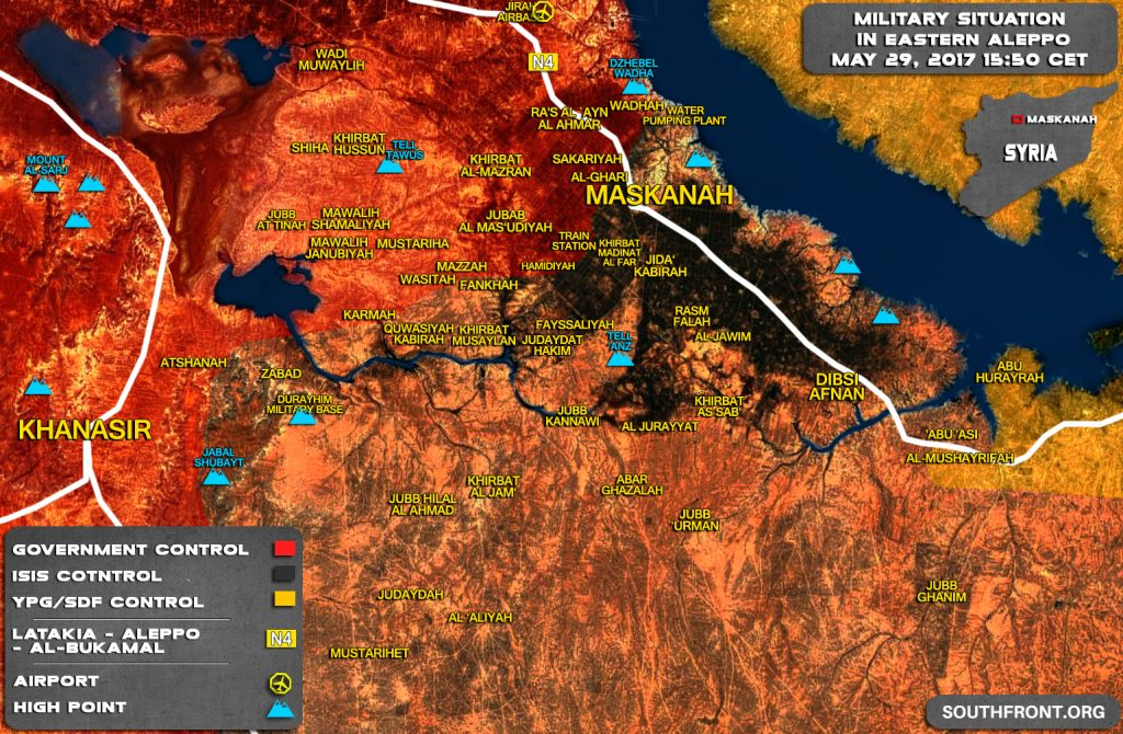 Military Situation In Eastern Part Of Aleppo Province After Recent Gains By Syrian Army (Map)