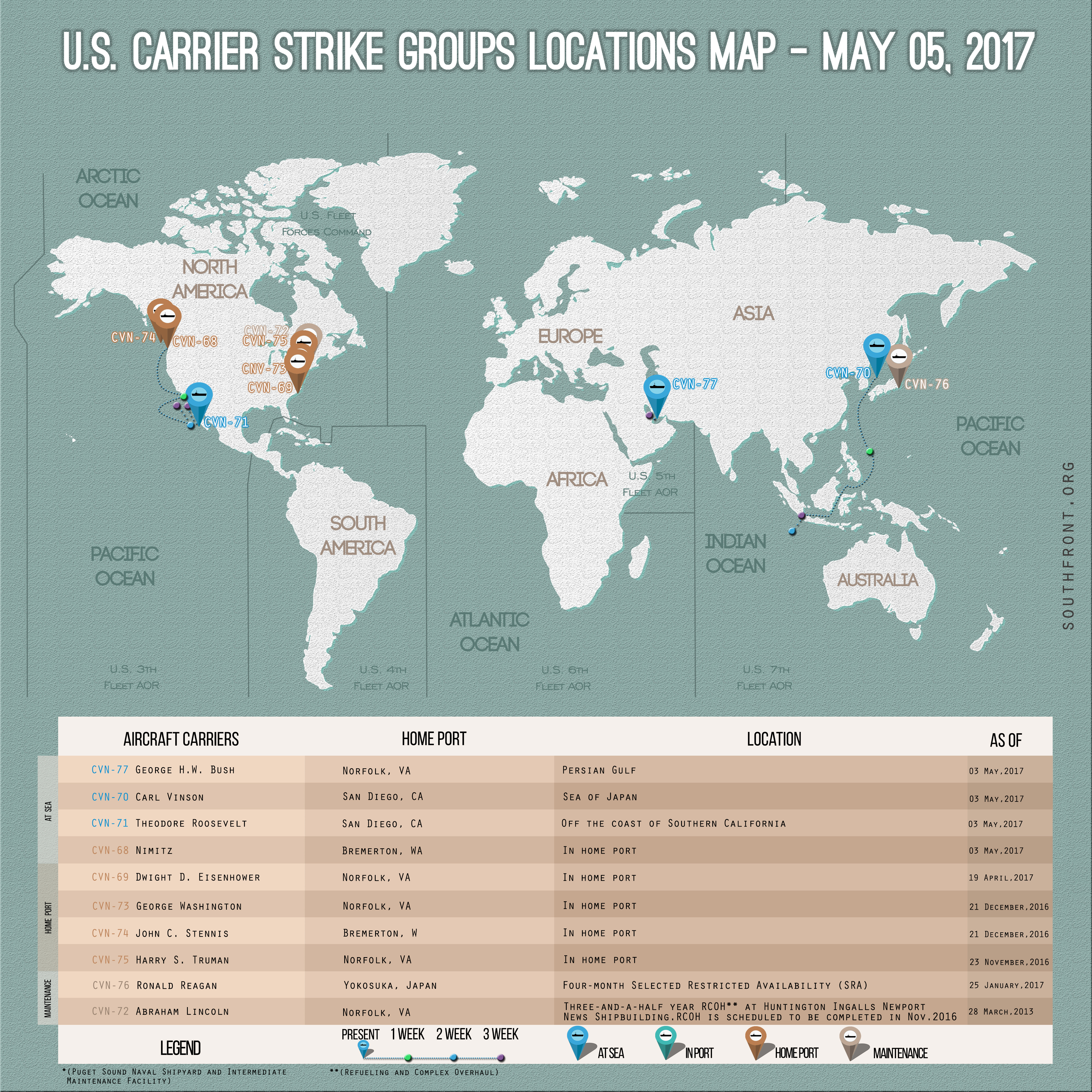 US Carrier Strike Groups Locations Map – May 5, 2017