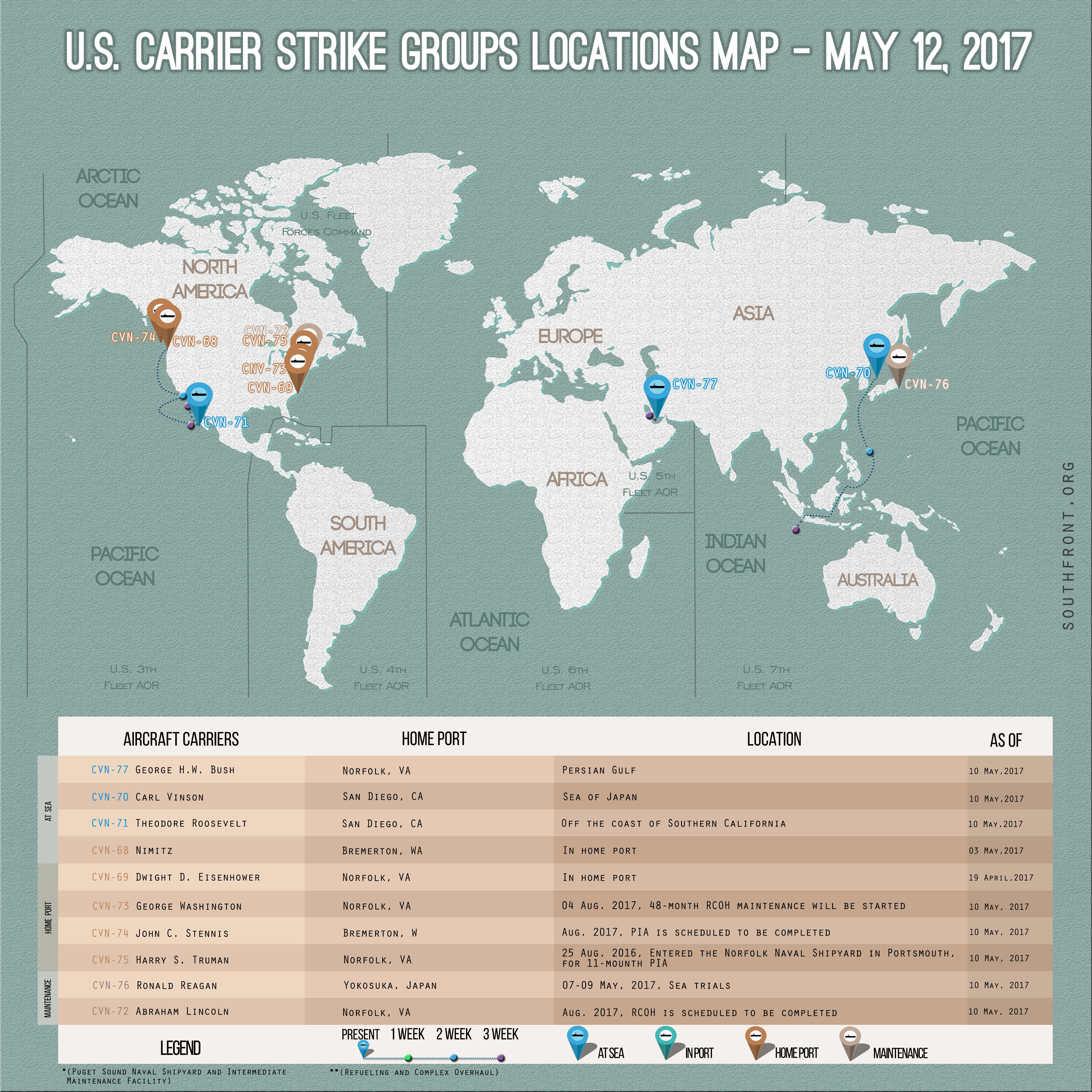 US Carrier Strike Groups Locations Map – May 12, 2017