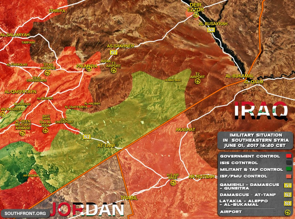 Military Situation At Syrian Border With Jordan And Iraq On June 1, 2017 (Map Update)