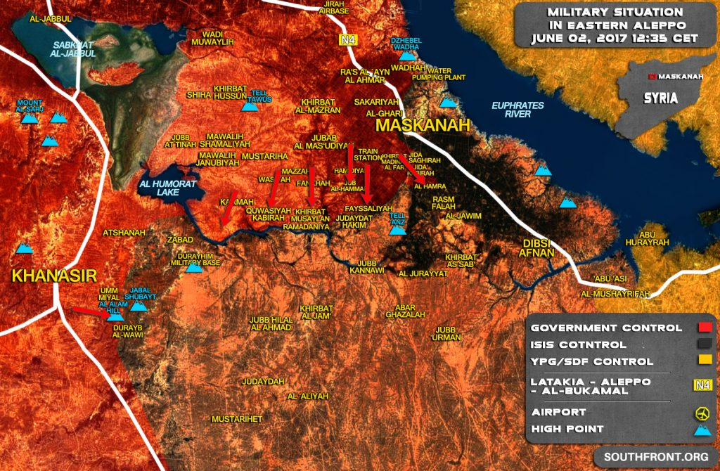 Military Situation In Eastern Aleppo After ISIS Retreat From West Of Maskanah (Map)