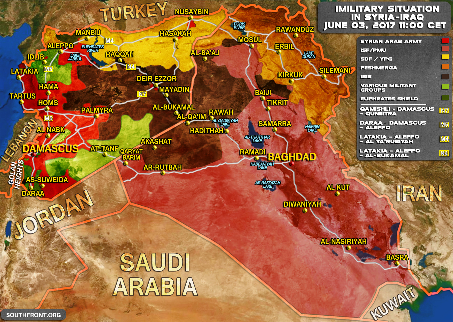 Situation in syria and iraq on june 3 2017 map update military situation in syria and iraq on june 3 2017 map update gumiabroncs Image collections