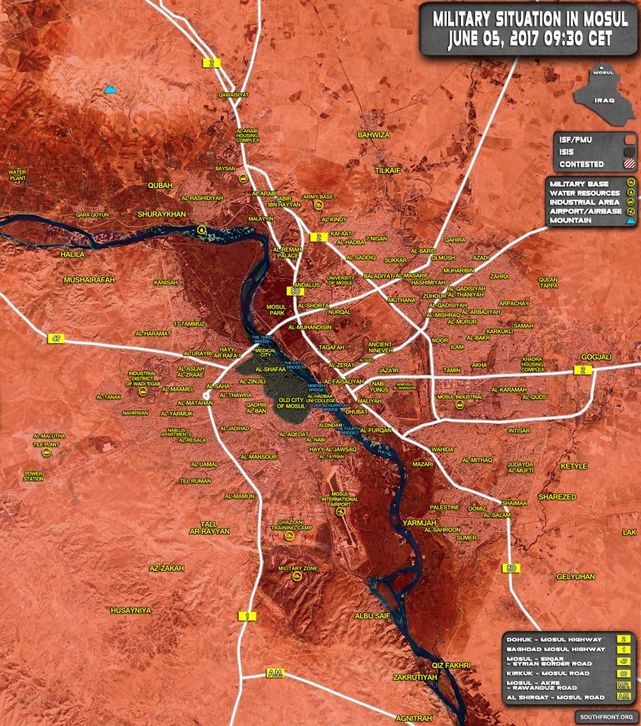 Military Situation In Iraqi City Of Mosul On June 5, 2017 (Map Update)