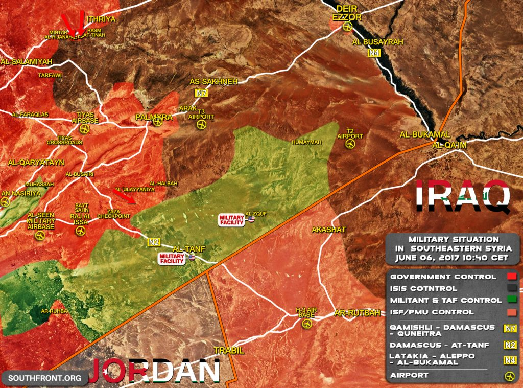 Military Situation In Southeastern Syria On June 6, 2017 (Map Update)