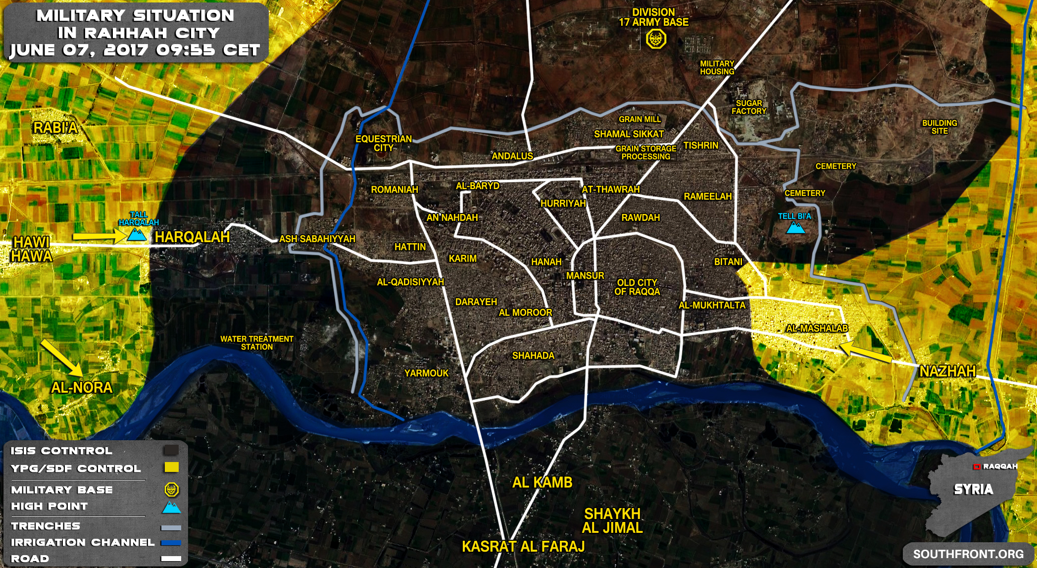 Backed Forces Made More Gains Against ISIS In Raqqah City Map - Isis location map in us