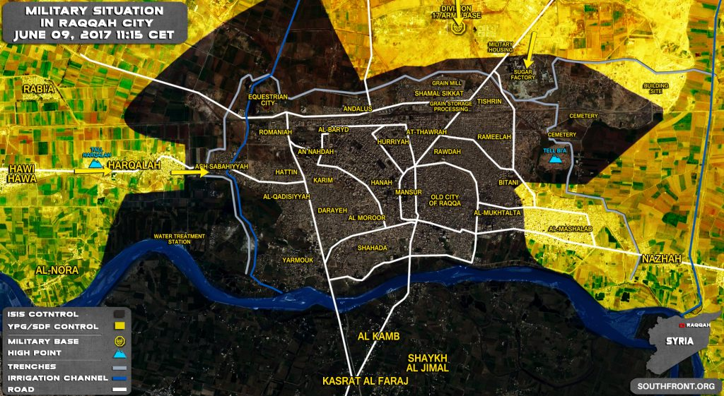 Military Situation In Syrian City Of Raqqah On June 9, 2017 (Map Update)