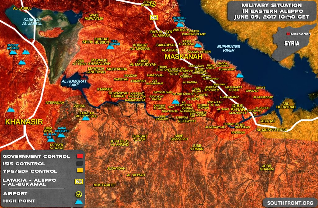 Military Situation In Maskanah Area On June 9, 2017 (Syria Map Update)