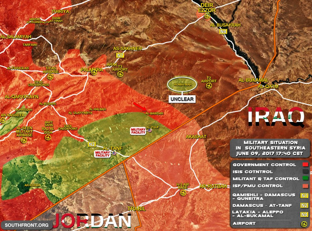 Map: Military Situation In Southeastern Syria After Government Forces Reached Border With Iraq