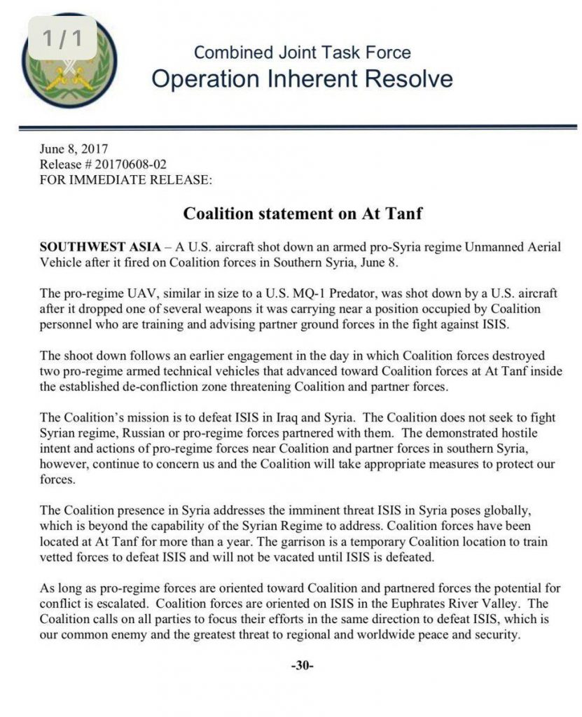 US-led Coalition Once Again Carried Out Airstrikes On Syrian Army, Downed Iranian Combat Drone (Photos)