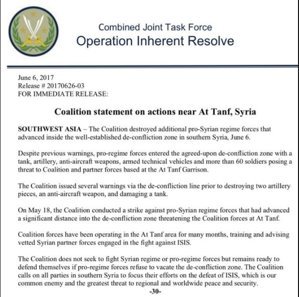 US-led Coalition Air Force Once Again Bombed Government Troops In Southern Syria