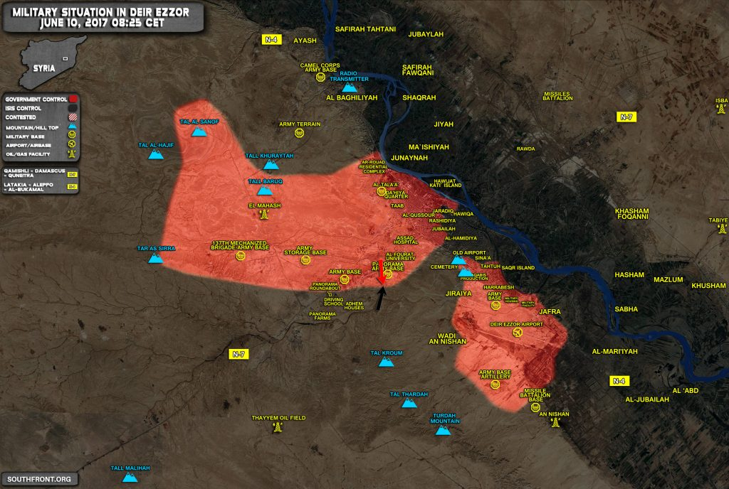 Military Situation In Syrian City Of Deir Ezzor On June 10, 2017 (Map)