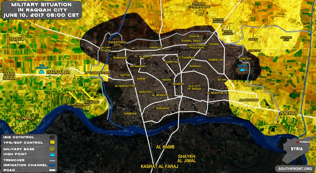 Military Situation In Syrian City Of Raqqah On June 10, 2017 (Map Update)