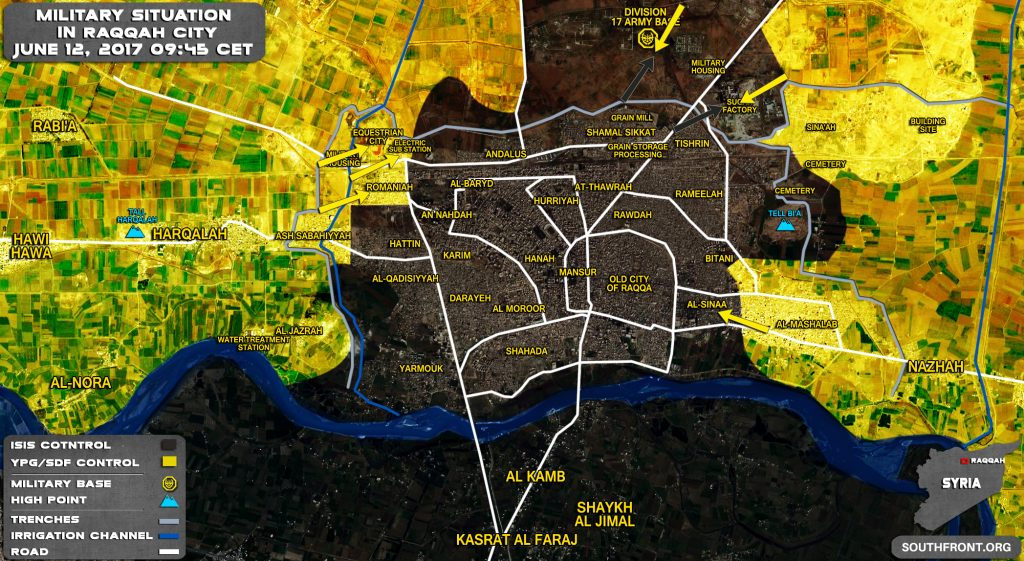 Military Situation In Syrian City Of Raqqah On June 12, 2017 (Map)