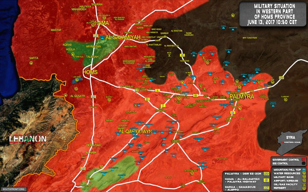 Syrian Government Forces Advancing On T3 Airbase And Arak In Palmyra Countryside (Map)
