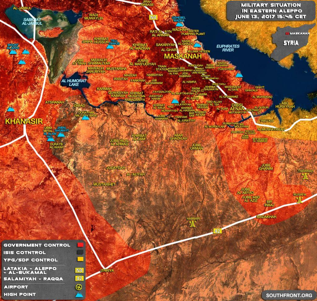 シリア軍の最近の進歩の後Raqqahとアレッポ地方の軍事情勢