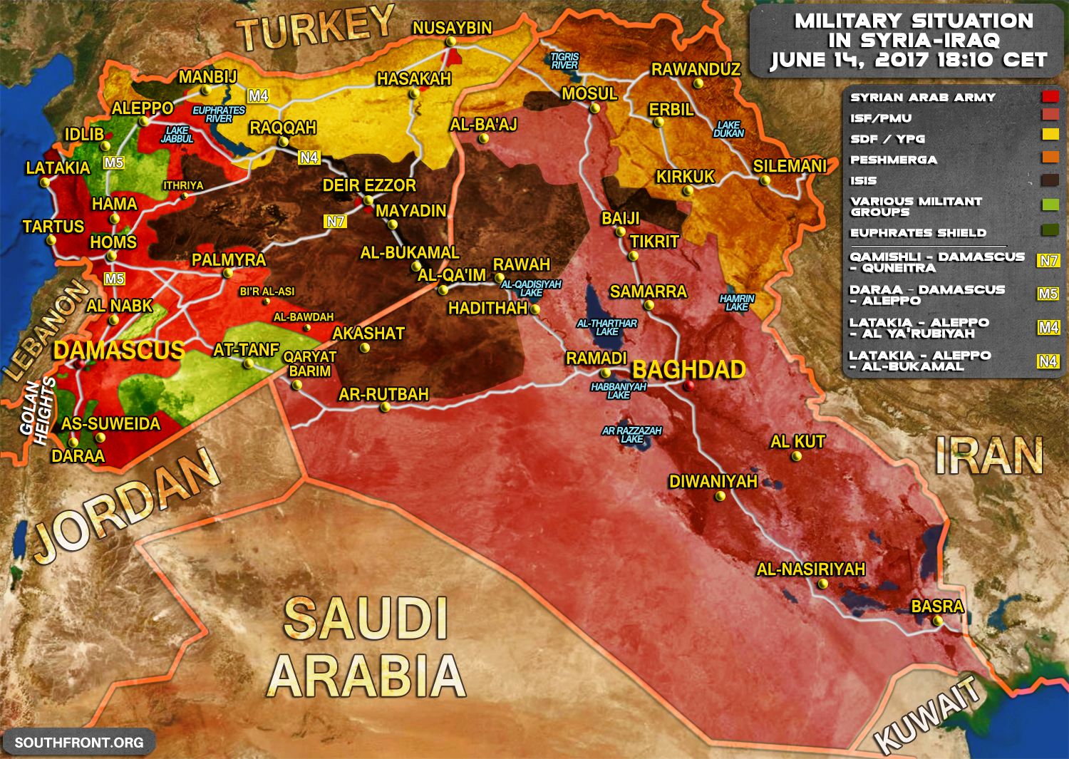 Military situation in syria and iraq on june 14 2017 map update gumiabroncs Choice Image