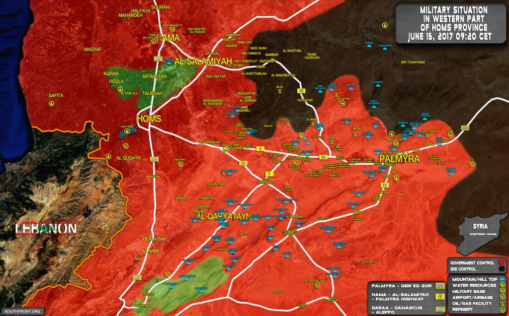 Military Situation In Countryside Of Palmyra On June 15, 2017 (Map Update)