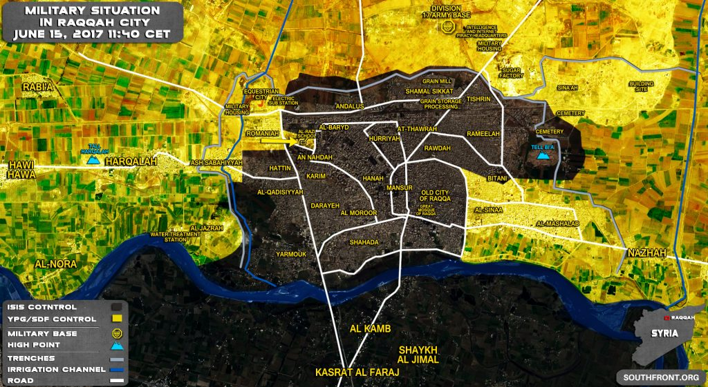 Military Situation In Syrian City Of Raqqah On June 15, 2017 (Map Update)