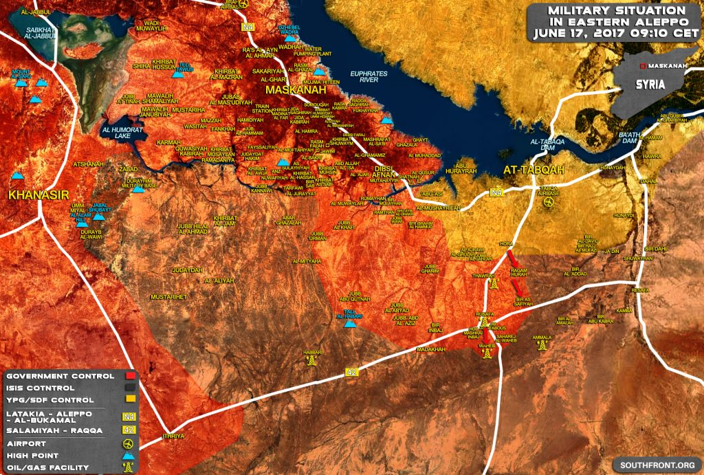 シリア政府軍はRaqqah省(マップ)ではすべてのエリアを解放します