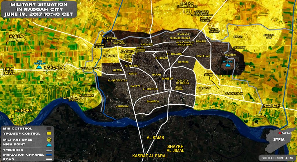 Military Situation In Raqqah On June 19, 2017 (Map Update)