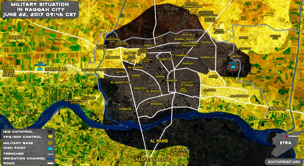 Military Situation In Syrian City Of Raqqah On June 22, 2017 (Map Update)