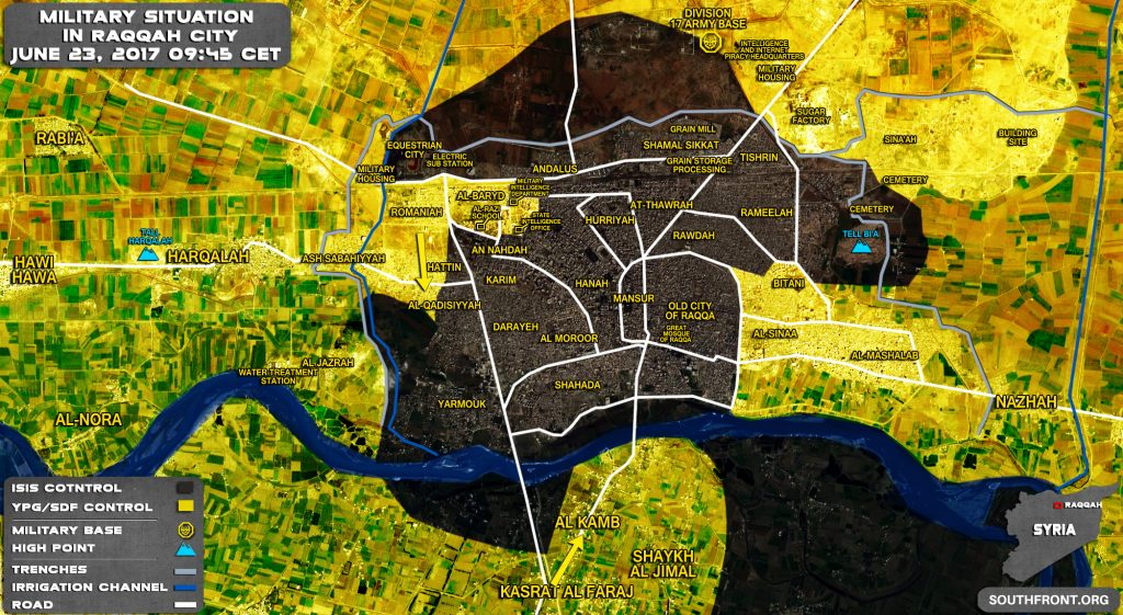 Military Situation In Syrian City Of Raqqah On June 23, 2017 (Map Update)