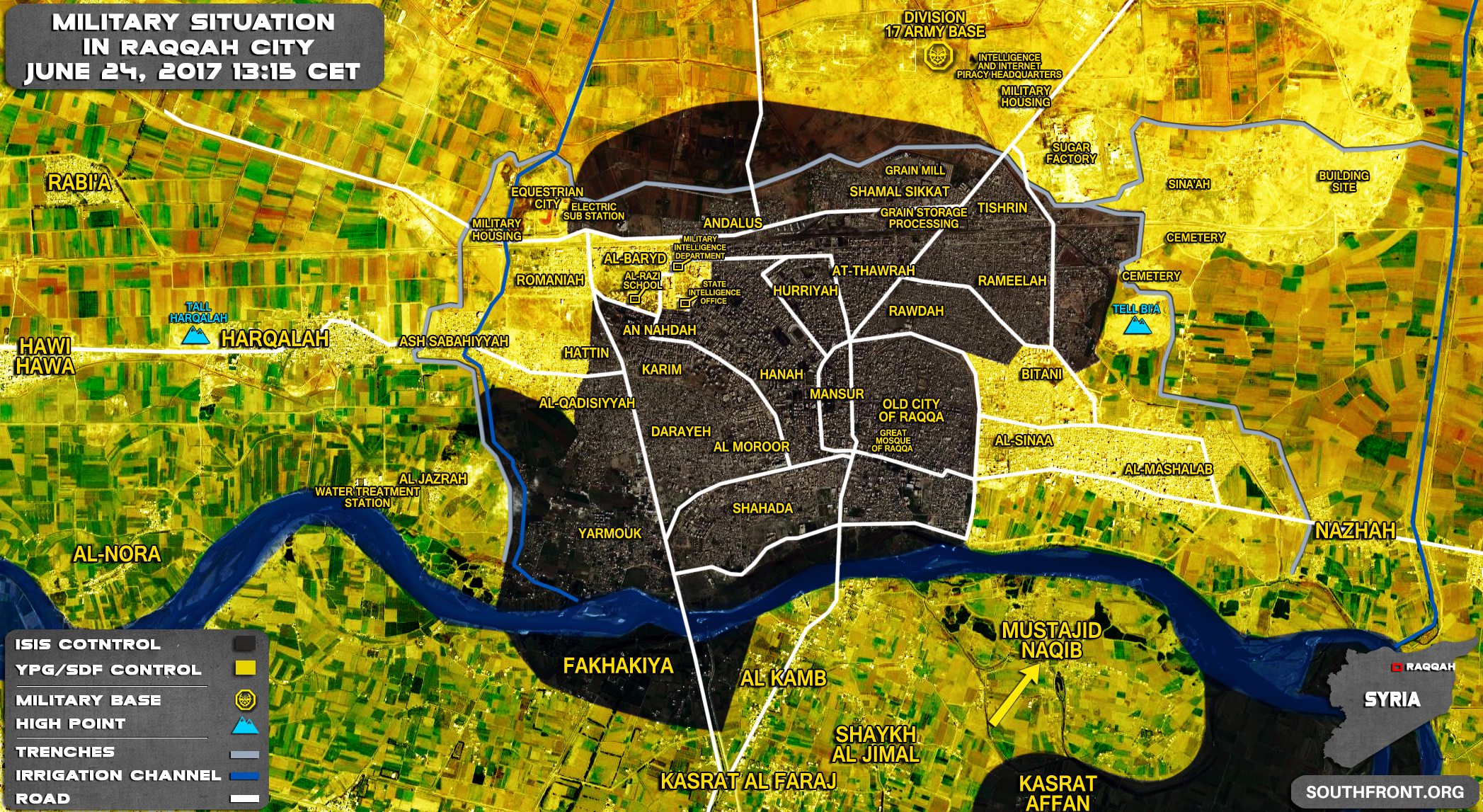 SDF Seizes Mustajid Naqib, Fully Encircles Raqqah City (Map)