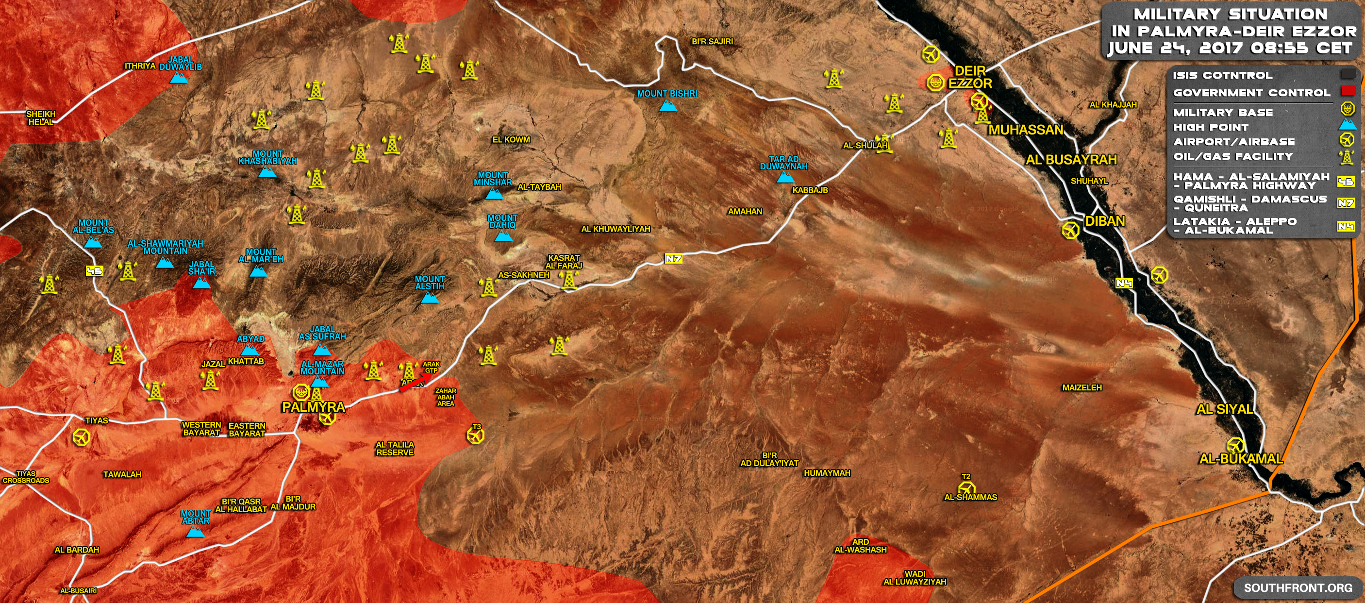 Map Update: Syrian Government Forces Advancing Along Palmyra-Deir Ezzor Road