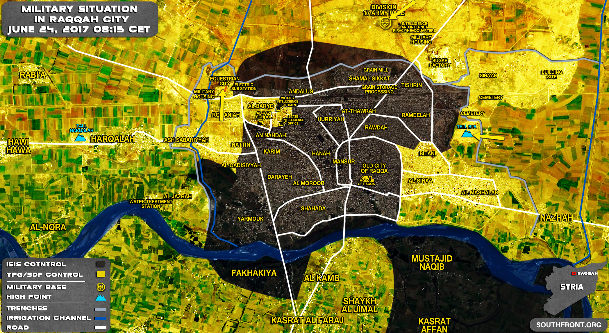 Military Situation In Syrian City Of Raqqah On June 24, 2017 (Map Update)