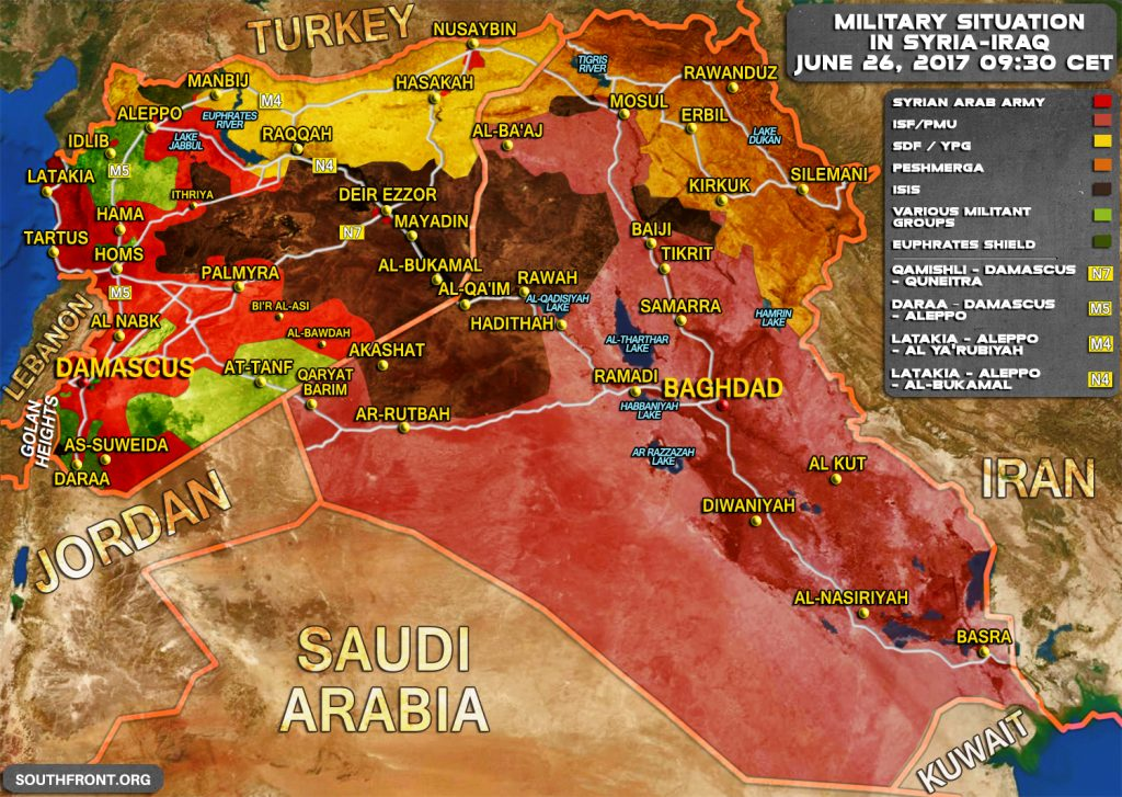 Military Situation In Syria And Iraq On June 26, 2017