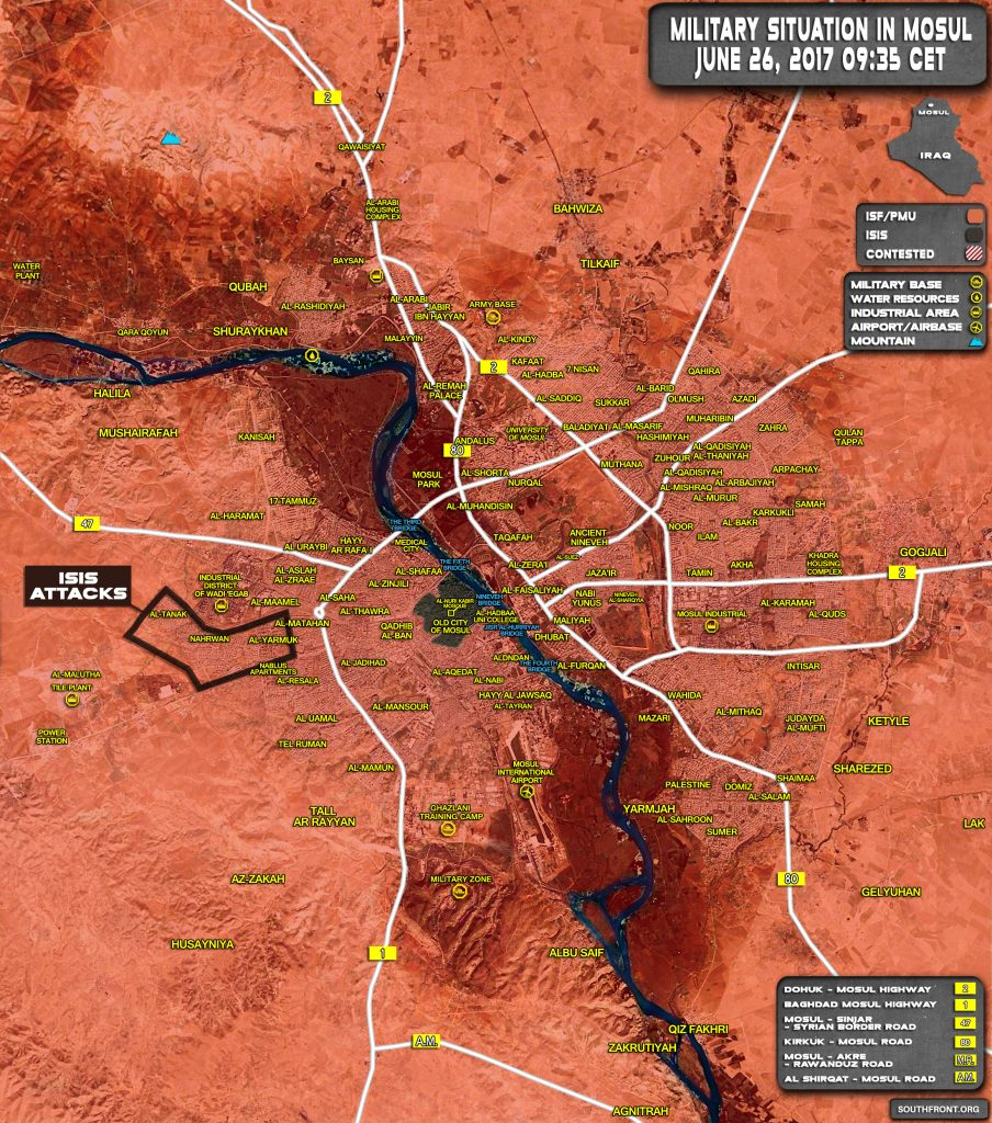 Military Situation In Iraqi City Of Mosul On June 26, 2017 (Map Update)