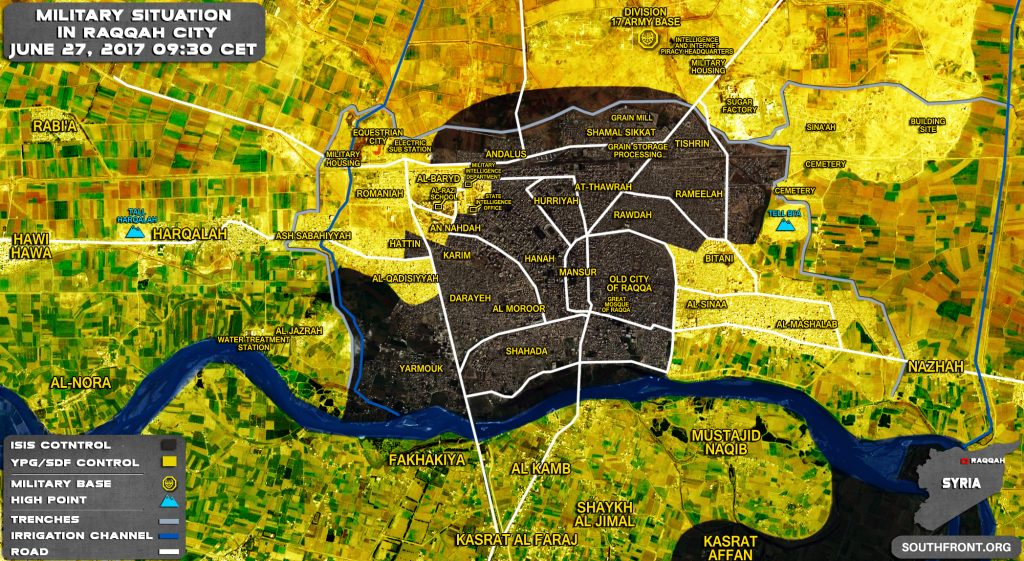 Military Situation In Syrian City Of Raqqah On June 27, 2017 (Map Update)