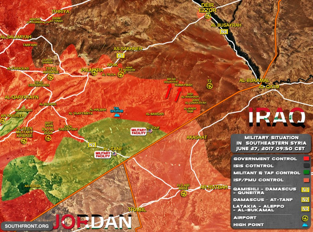 Military Situation In Southeastern Syria. Government Forces In Striking Distance From T2 Pumping Station