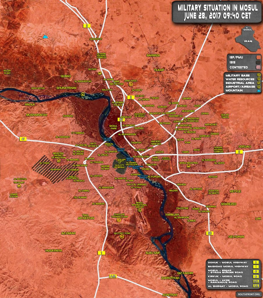 Military Situation In Iraqi City Of Mosul On June 28, 2017 (Map Update)