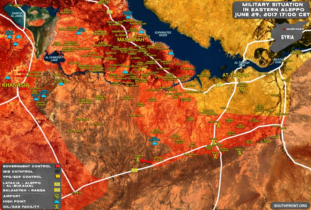 Military Situation In Eastern Aleppo And Western Raqqah On June 29, 2017 (Map Update)