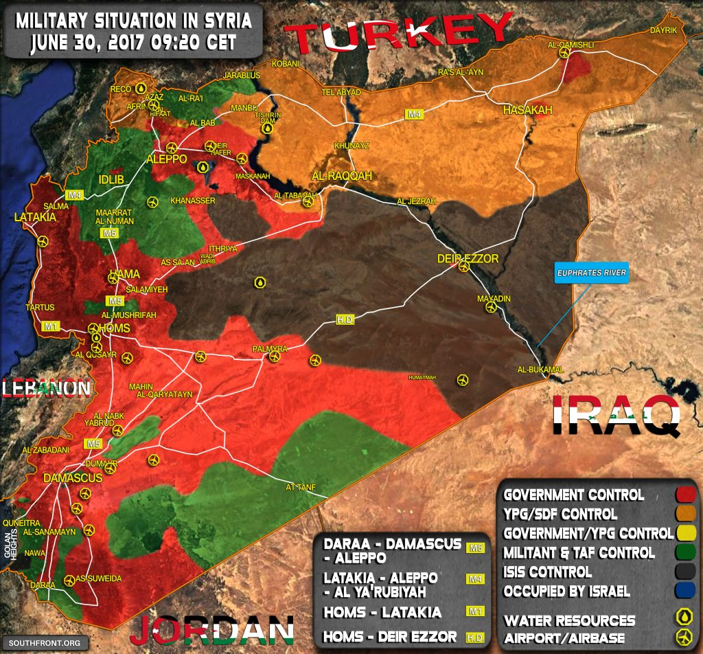 Military Situation In Syria On June 30, 2017 (Map Update)