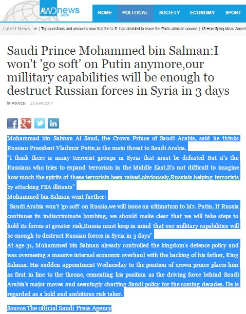 "Fake News: Saudi Arabia Issues Ultimatum To Putin, Vows To Destroy ""Russian Forces In Syria On 3 Days"""