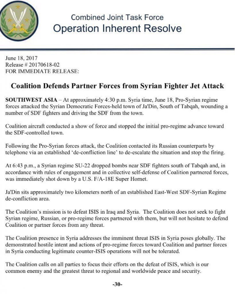 USAF Shot Down Syrian Su-22 Fighter Bomber Near Ja'Din in Raqqa province