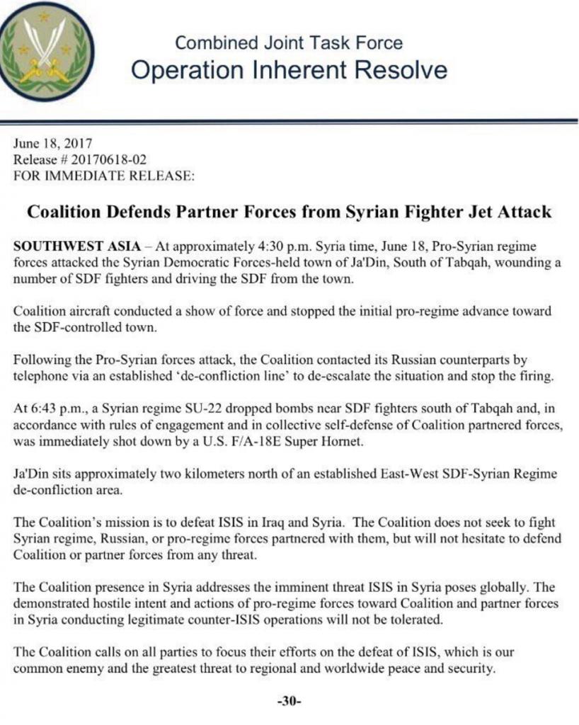USAF Shot Down Syrian Su-22 Fighter Bomber Near Ja'Din in Raqqa province